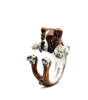 DOG FEVER - ENAMELLED HUG RING - boxer enameled hug ring