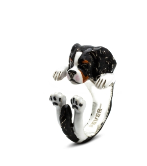 DOG FEVER - ENAMELLED HUG RING - cavalier king enameled hug ring