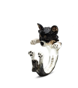 DOG FEVER - ENAMELLED HUG RING - chihuahua long hair red enameled hug ring