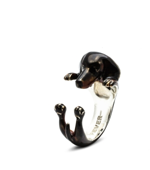 DOG FEVER - ENAMELLED HUG RING - dachshund enameled hug ring