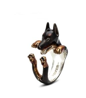 DOG FEVER - ENAMELLED HUG RING - dobermann enameled hug ring