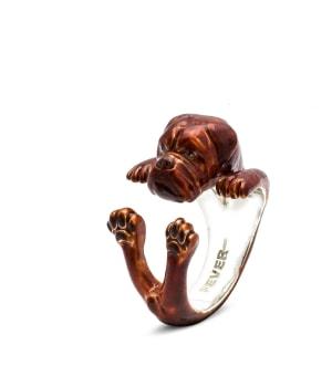 DOG FEVER - ENAMELLED HUG RING - dogue de bordeaux enameled hug ring