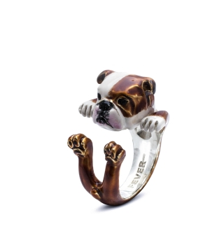 DOG FEVER - ENAMELLED HUG RING - english bulldog enameled hug ring