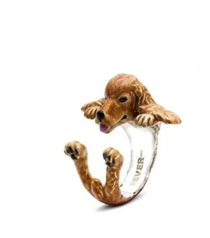 DOG FEVER - ENAMELLED HUG RING - english cocker spaniel enameled hug ring
