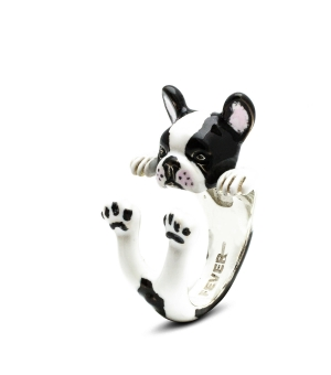 DOG FEVER - ENAMELLED HUG RING - french bulldog enameled hug ring