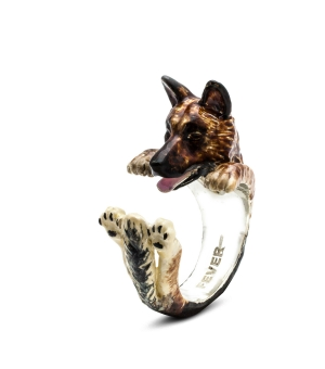 DOG FEVER - ENAMELLED HUG RING - german shepherd enameled hug ring