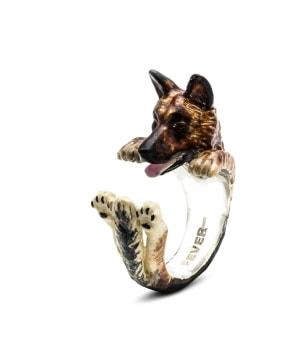 DOG FEVER - ENAMELLED HUG RING - german shepherd enameled hug ring