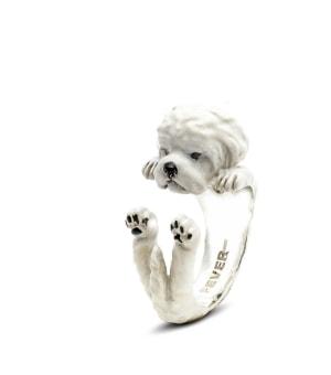DOG FEVER - ENAMELLED HUG RING - maltese enameled hug ring