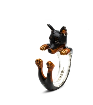 DOG FEVER - ENAMELLED HUG RING - pinscher enameled hug ring