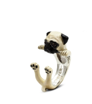 DOG FEVER - ENAMELLED HUG RING - pug enameled hug ring
