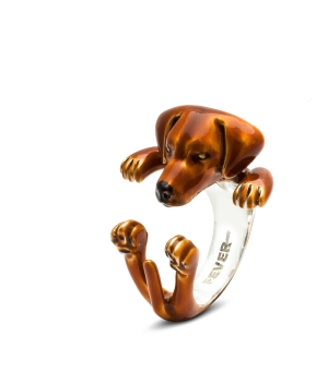 DOG FEVER - ENAMELLED HUG RING - rhodesian ridgeback custom ring