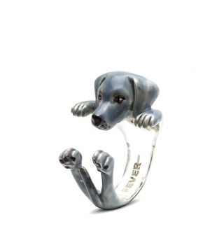DOG FEVER - ENAMELLED HUG RING - weimaraner enameled hug ring