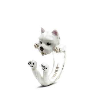 DOG FEVER - ENAMELLED HUG RING - west highland white terrier enameled hug ring