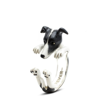 DOG FEVER - ENAMELLED HUG RING - whippet enameled hug ring