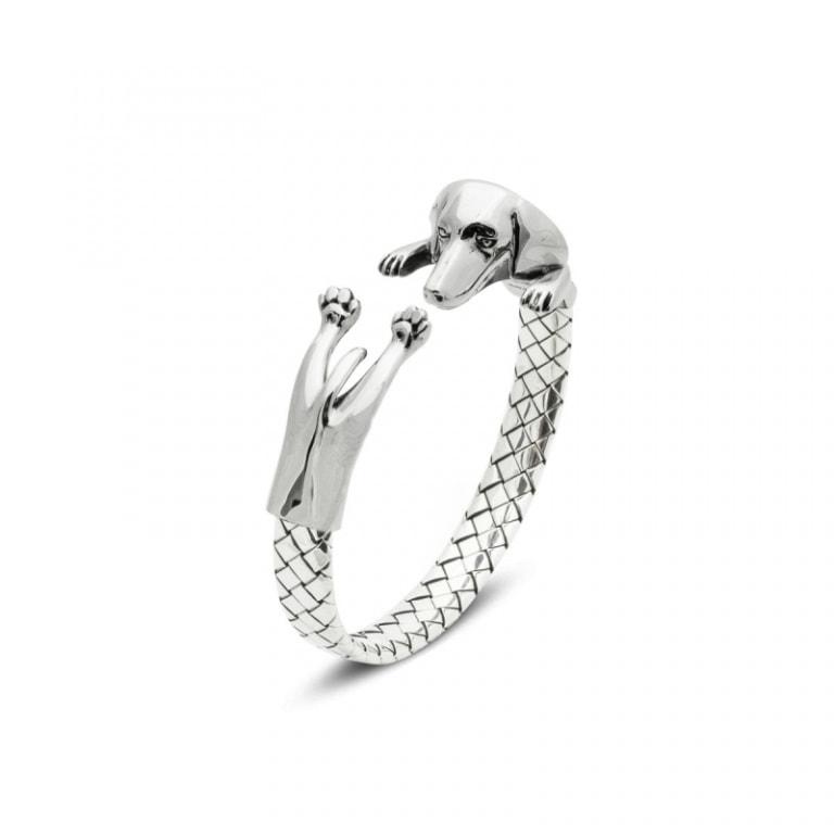 DOG FEVER - HUG BRACELETS - dachshun silver hug bracelet