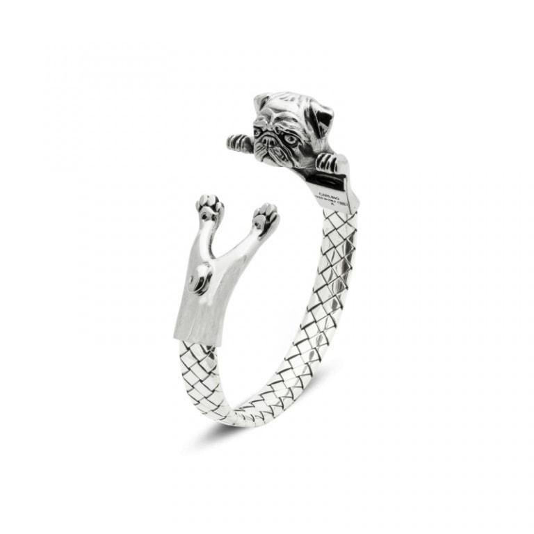 DOG FEVER - HUG BRACELETS - pug silver hug bracelet