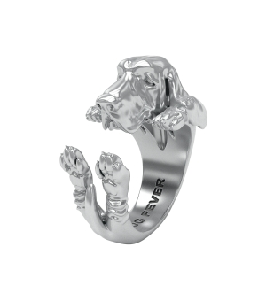 DOG FEVER - HUG RING -basset hound silver hug ring