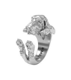 DOG FEVER - HUG RING -basset hound silver hug ring