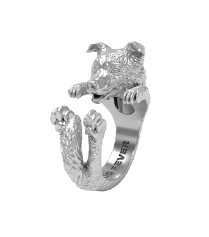 DOG FEVER - HUG RING - border collie silver hug ring