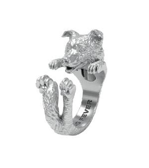 DOG FEVER - HUG RING - border collie silver hug ring