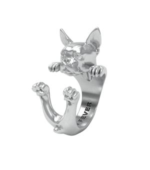DOG FEVER - HUG RING - boston terrier silver ring