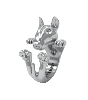 DOG FEVER - HUG RING - bull terrier silver hug ring