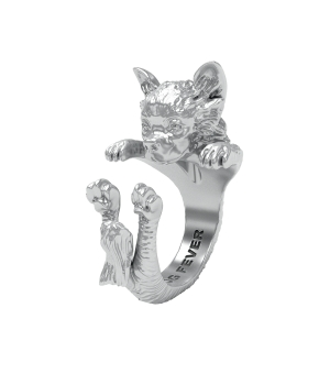 DOG FEVER - HUG RING - chihuahua long haired silver hug ring