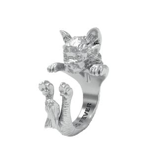 DOG FEVER - HUG RING - chihuahua long haired silver hug ring