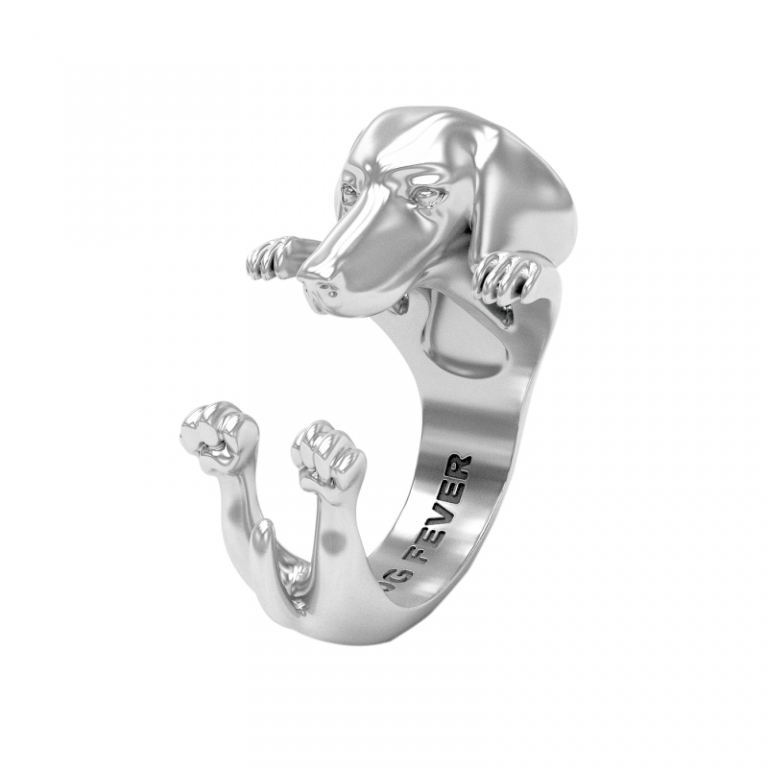 DOG FEVER - HUG RING - dachshund silver hug ring