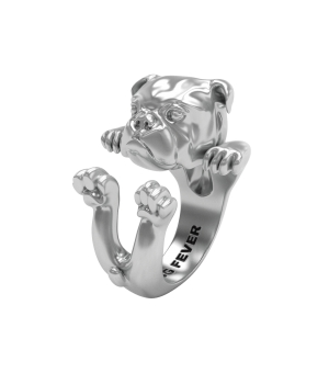 DOG FEVER - HUG RING - english bulldog silver hug ring