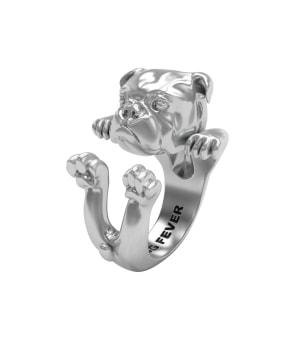 DOG FEVER - HUG RING - english bulldog silver hug ring