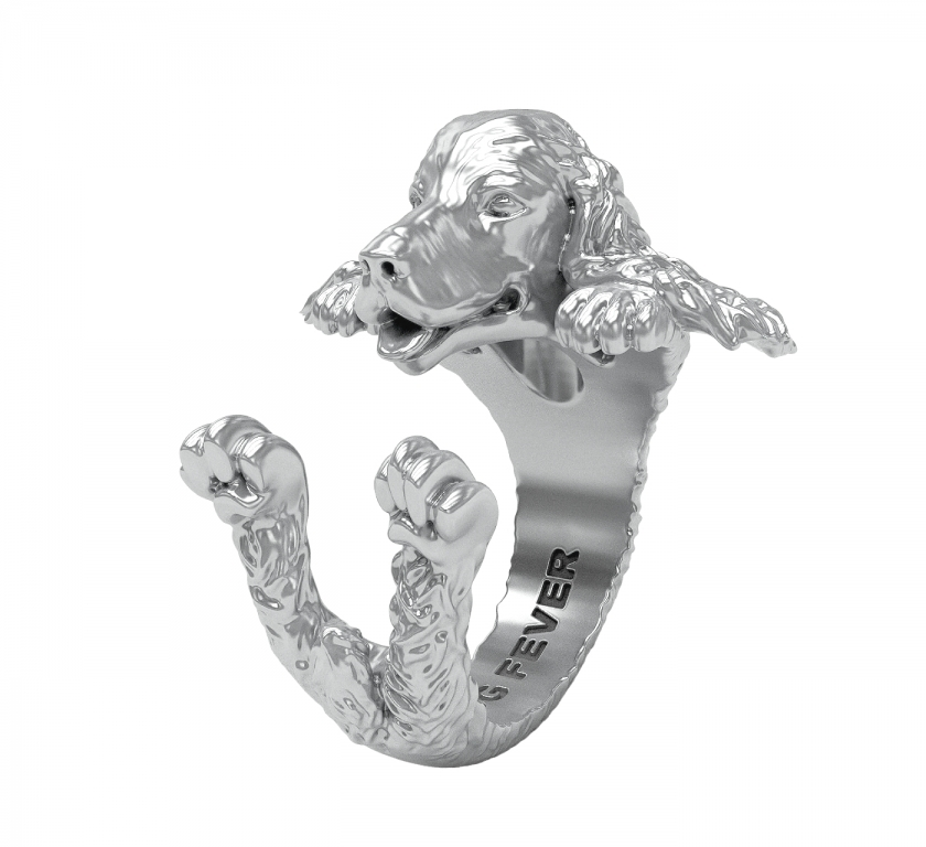 DOG FEVER - HUG RING - english cocker spaniel silver hug ring