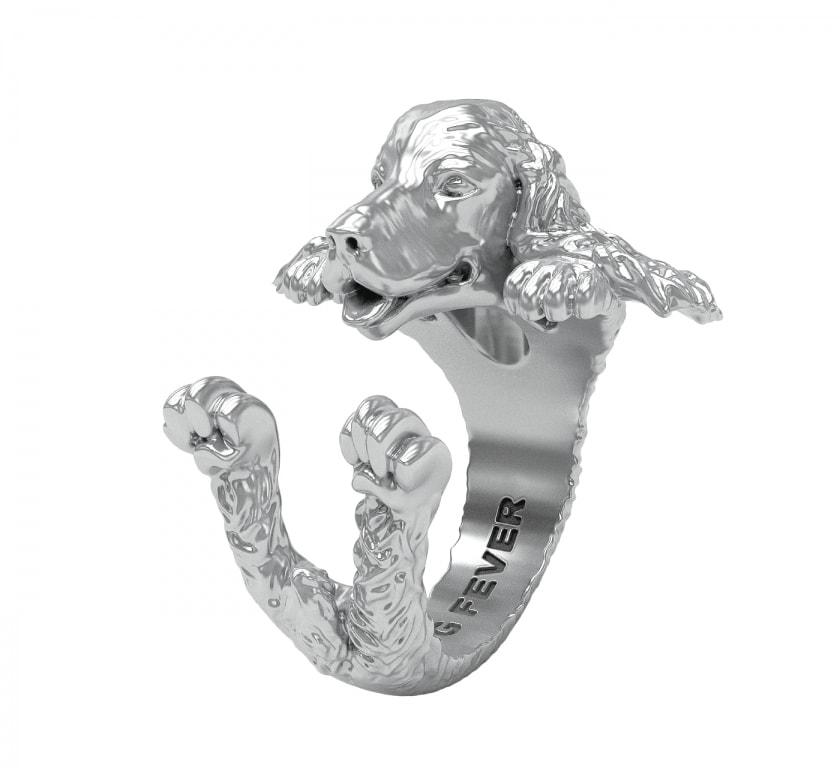 DOG FEVER - HUG RING - english cocker spaniel silver hug ring