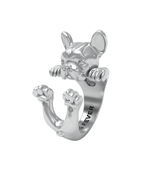 DOG FEVER - HUG RING - french bulldog silver hug ring