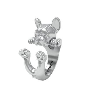 DOG FEVER - HUG RING - french bulldog silver hug ring