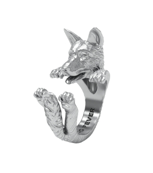 DOG FEVER - HUG RING - german shepherd silver hug ring