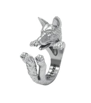 DOG FEVER - HUG RING - german shepherd silver hug ring