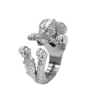 DOG FEVER - HUG RING - golden retriever silver hug ring