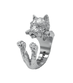 DOG FEVER - HUG RING - west highland silver hug ring
