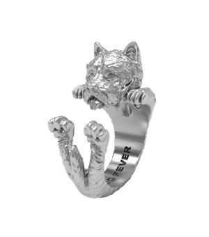 DOG FEVER - HUG RING - west highland silver hug ring