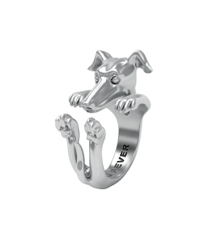 DOG FEVER - HUG RING - whippet silver hug ring