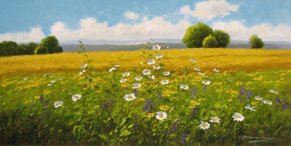 GERHARD NESVADBA ARTIST Daisies by Wheatfield 20 x 39