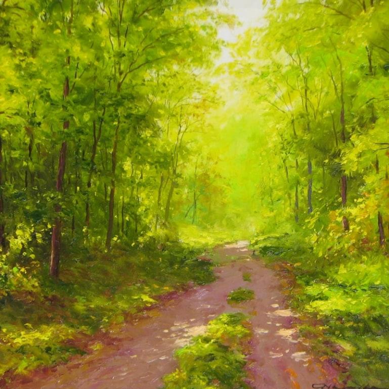 GERHARD NESVADBA ARTIST Sunlit Path 16 x 16
