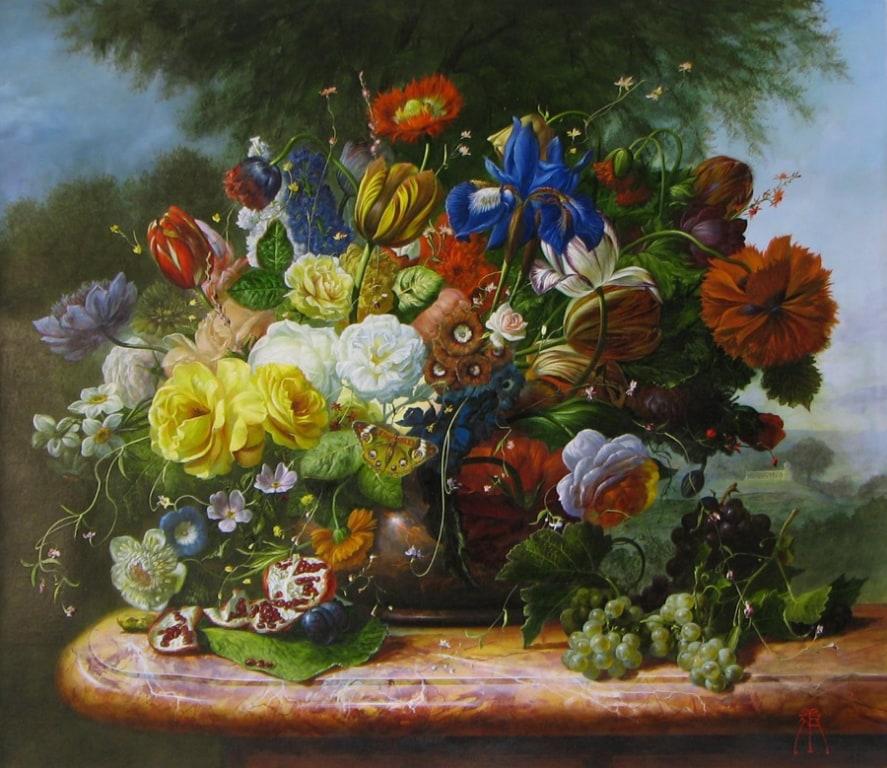 GYULA SISKA ARTIST Floral Beauty 24 x 28