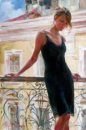 Garmash Artist - M I Garmash Artwork - Afternoon on the Balcony by Garmash