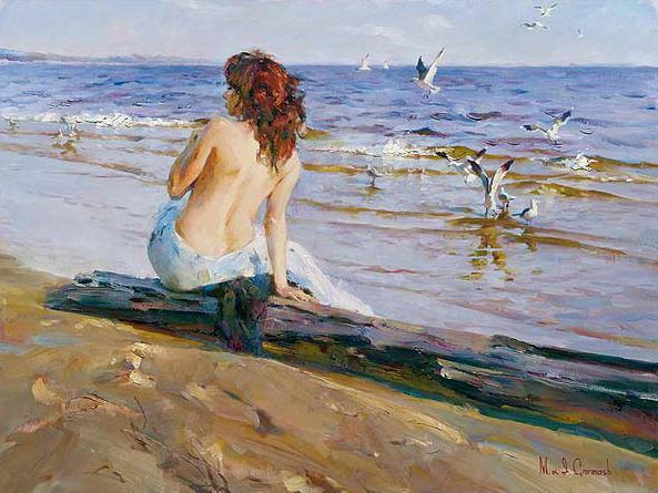Garmash Artist - M I Garmash Artwork -Beauty by the shore by Garmash
