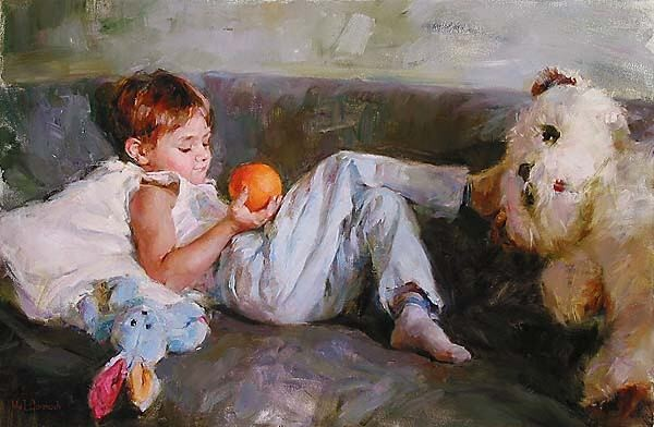 Garmash Artist - M I Garmash Artwork - Boy with Orange by Garmash