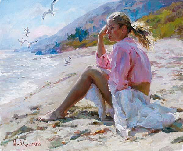 Garmash Artist - M I Garmash Artwork - By the Shore by Garmash