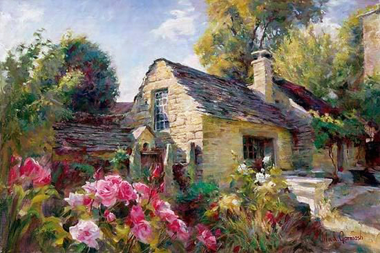 Garmash Artist - M I Garmash Artwork - House in Provence by Garmash
