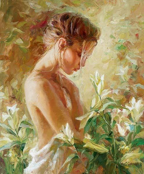 Garmash Artist - M I Garmash Artwork - Lost in Lilies by Garmash